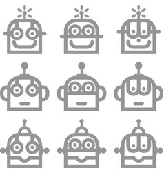 Logo robot head silver technology icon symbol vector