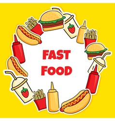 Fast food wreath vector