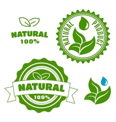 Natural product labels with leaves and drops vector