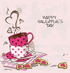 Valentines greeting card with pair of teacups vector