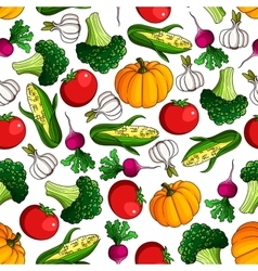 Fresh farm veggies seamless pattern vector