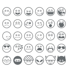 Smiley emoticon line icons set vector