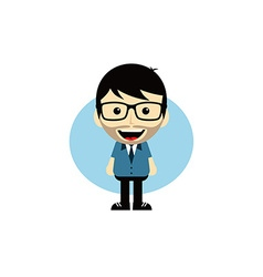 geek cartoon nerd character vector image