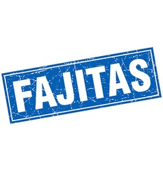 Fajitas blue square grunge stamp on white vector
