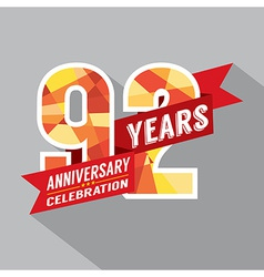92nd Years Anniversary Celebration Design vector image