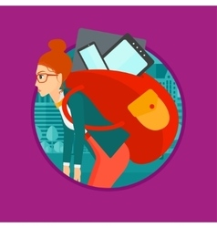 Woman with backpack full of electronic devices vector