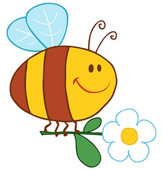 Happy bee flying with flower vector