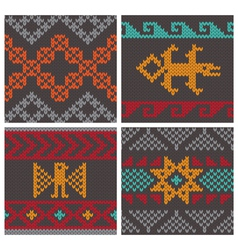 andean knitting pattern vector image