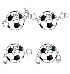 Angry cartoon football set vector image