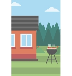 Background of the house with barbecue vector image vector image