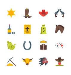 Cartoon symbol of cowboy color icons set vector