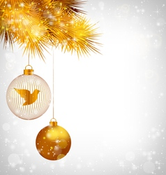 Christmas balls with bird and golden pine on vector image