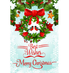 christmas wreath with ribbon and bow greeting card vector image