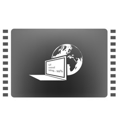 computer monitor and earth globe icon vector image vector image
