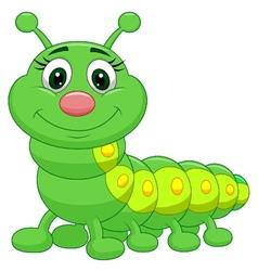 Cute green caterpillar cartoon vector image
