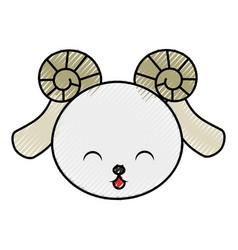 Cute scribble goat face vector