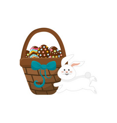 Eggs easter inside the hamper and rabbit running vector