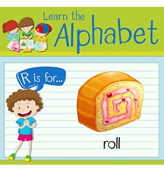 Flashcard letter R is for roll vector image