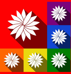flower sign set of icons with flat vector image