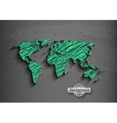 hand drawn green world map on a grey background vector image vector image