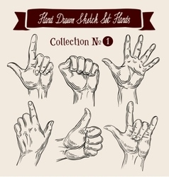 Hand drawn sketch set hands gestures vector image vector image