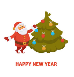 happy new year cartoon santa decorating christmas vector image