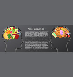 Healthy and unhealthy food eat in human brain vector