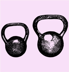 kettlebell dumbbell weight sport equipment dood vector image vector image