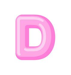 Letter d candy font caramel alphabet lollipop vector