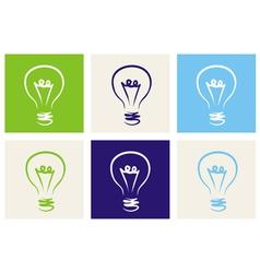 Light bulbs eco icon set vector image
