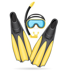 Mask tube and flippers for diving vector