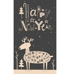 Merry christmas deer card vector