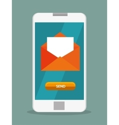 Mobile phone email envelope icon design vector
