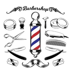 Monochrome collection barbershop tools vector