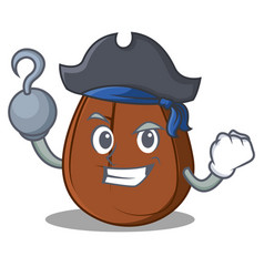 Pirate coffee bean character cartoon vector