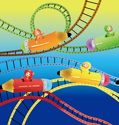 Riding roller coasters vector