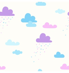 Seamless pattern with cartoon clouds and rain vector