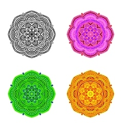 set mandala different color vector image vector image
