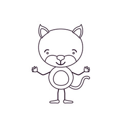 Sketch contour caricature of cute kitten happiness vector