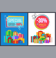 special offer 50 price off 30 gemetric label boxes vector image vector image