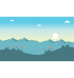 Spring landscape at the sunrise vector image