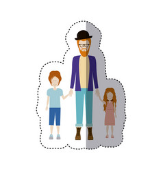 Sticker color silhouette with kids and dad with vector