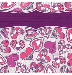 violet valentine background with color hearts vector image vector image