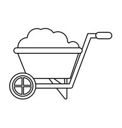 Wheelbarrow garden earth line vector