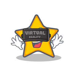 With virtual reality star character cartoon style vector