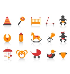 Simple baby icons set vector