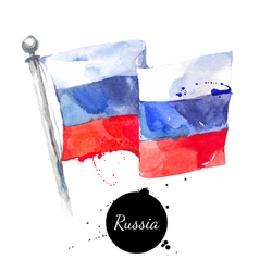 Watercolor russia flag hand drawn on white vector