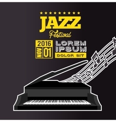 Jazz festival poster piano notes black background vector
