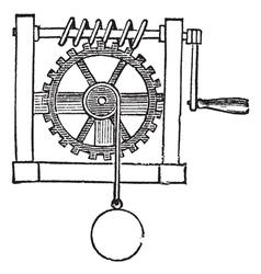 Gears vintage engraved vector image