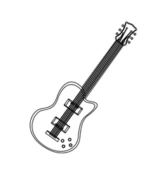 monochrome contour with electric guitar vector image